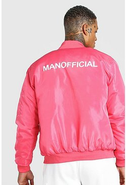 Pink MAN Official Back Print Padded Bomber
