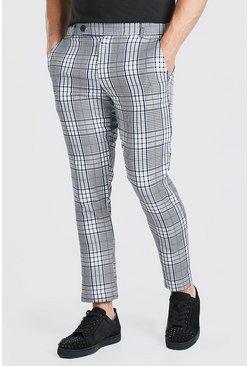 Blue Skinny Check Smart Pants