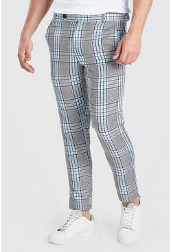 Purple Skinny Check Smart Pants