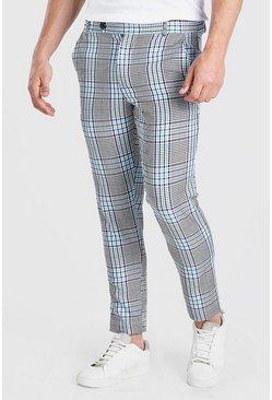 Purple Skinny Check Smart Pants