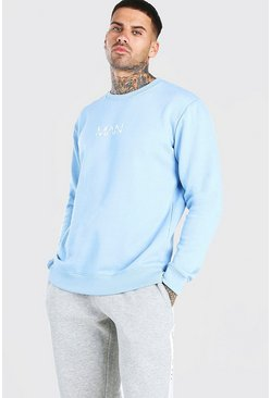 Powder blue Original Man Print Fleece Sweatshirts