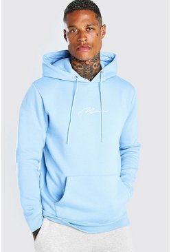Powder blue Man Signature Embroidered Hoodie