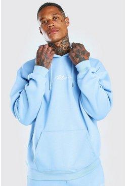 Powder blue Oversized Man Signature Hoodie