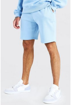 Powder blue Basic Mid Length Jersey Short