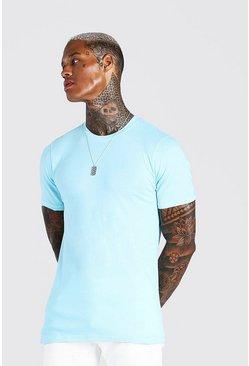 Pale blue Muscle Fit Crew Neck T-Shirt