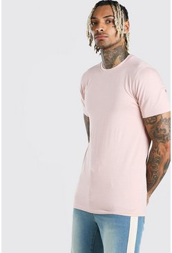 Dusky pink Muscle Fit Crew Neck T-Shirt