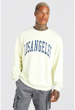 Yellow Oversized Los Angeles Acid Wash Varsity Sweat