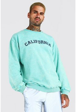 Green Oversized California Acid Wash Varsity Sweat