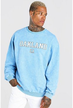 Blue Oversized Oakland Acid Wash Varsity Sweat