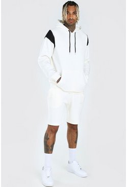 Ecru His Reflective Panel Hooded Short Tracksuit