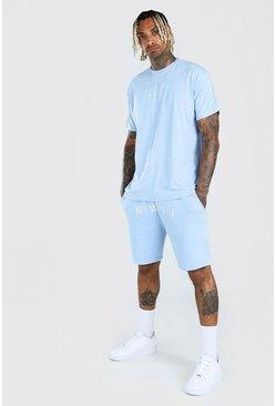 Powder blue His Loose Fit T-Shirt & Short Set