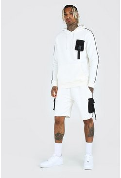 Ecru His Utility Hooded Short Tracksuit