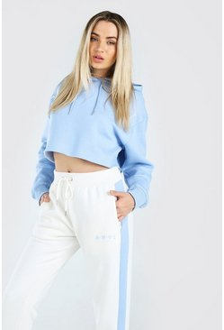 Powder blue Her Hi Lo Cropped Hoodie And Jogger Set