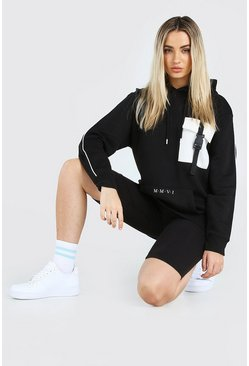 Black Hers Utility Hoodie And Cycling Short Set