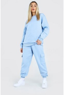 Powder blue Hers Loose Fit Utility Sweater Tracksuit