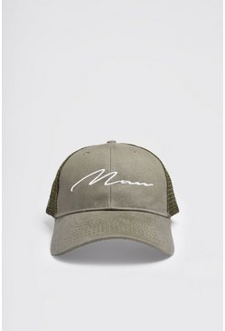 Khaki MAN Script Cotton Mesh Back Cap