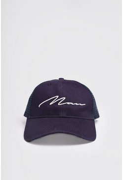 Navy MAN Script Cotton Mesh Back Cap