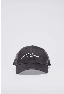 Grey MAN Script Cotton Mesh Back Cap