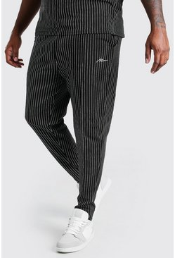 Black Big And Tall MAN Pinstripe Jacquard Joggers