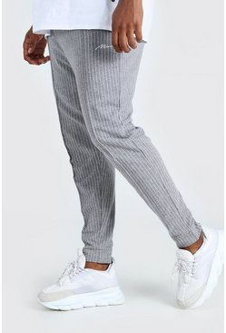 Grey Big And Tall MAN Pinstripe Jacquard Joggers