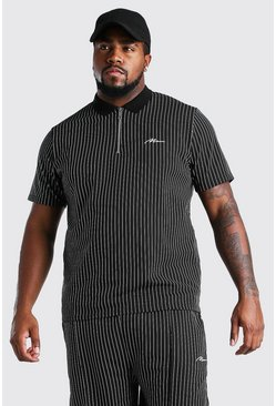 Black Big And Tall MAN Pinstripe Jacquard Polo