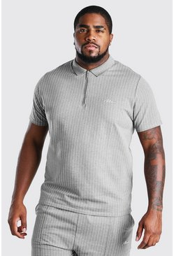 Grey Big And Tall MAN Pinstripe Jacquard Polo