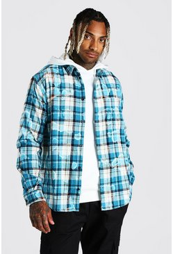 Blue Long Sleeve Tie Dye Oversized Check Bleached Shirt