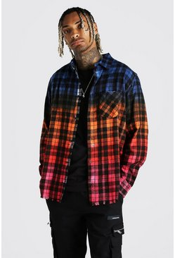 White Long Sleeve Ombre Oversize Flannel Check Shirt