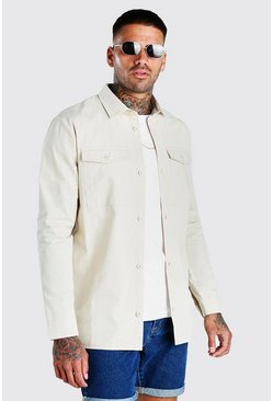 Stone Twill Utility Shirt Jacket
