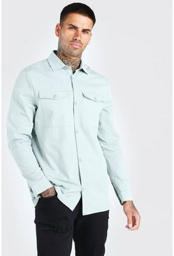 Mint Twill Utility Over Shirt