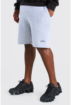 Grey marl Plus Size MAN Mid Length Jersey Short