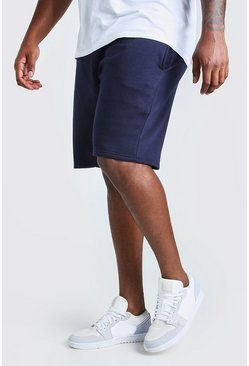Navy Plus Size Basic Mid Length Jersey Short
