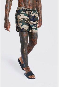 Khaki Camo Print Mid Length Swim Short