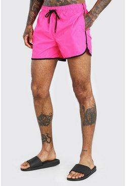 Neon-pink Plain Neon Runner Style Swim Short