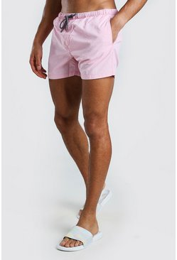 Pastel pink Mid Length Swim Shorts With Wash Effect
