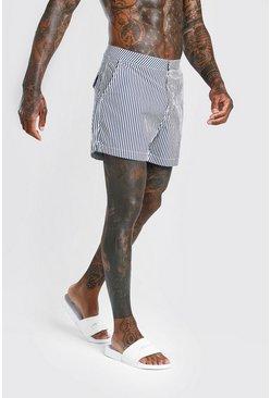 Navy Mid Length Stripe Swim Short