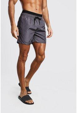 Black Mid Length Double Waist Check Print Swim Short