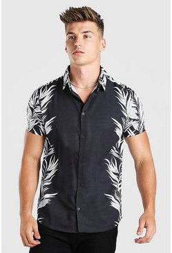 Black Short Sleeve Side Placement Print Shirt