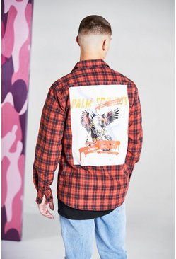 Orange Long Sleeve Check Shirt With Back Print