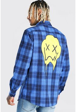 Blue Long Sleeve Flannel Check Shirt With Graphic Back Print