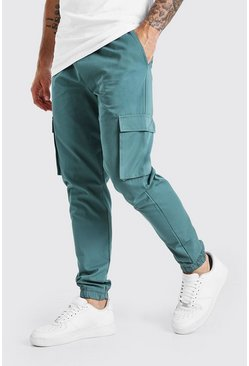Teal Utility Pocket Cargo Jogger Trouser