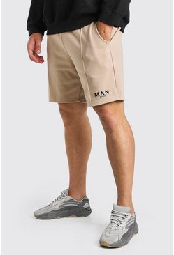 Big And Tall MAN Roman Shorts aus Neoprenstoff mit Biesen, Steingrau