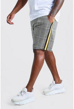 Grey Big And Tall Check Taped Mid Length Short