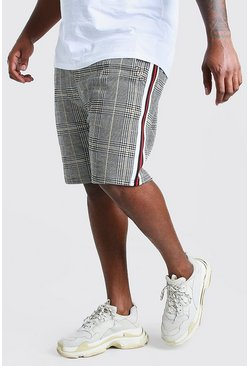 Grey Big And Tall Jacquard Tape Mid Length Short