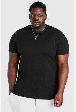 Black Big And Tall Longline Basic T-Shirt