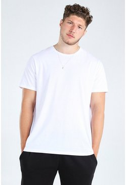 White Big And Tall Longline Basic T-Shirt