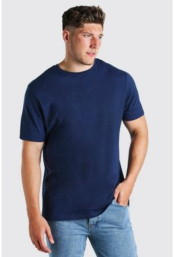 Navy Plus Size Longline Basic T-Shirt