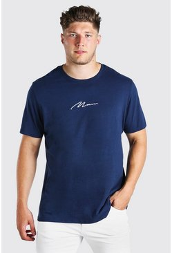 T-shirt long inscription MAN Signature Grandes Tailles, Marine