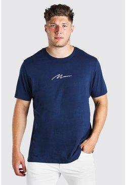 Navy Big And Tall MAN Script Longline T-Shirt