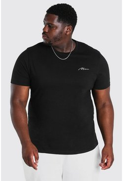 T-shirt Big And Tall à logo inscription HOMME, Noir